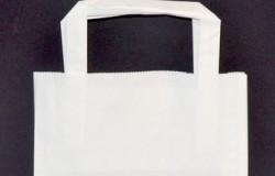Sacs cabas papier BLANC ou NATUREL 18+8x18 poignée plate XS 1er prix